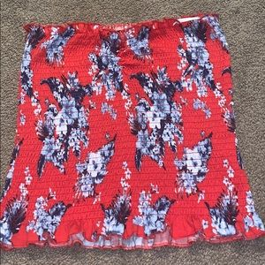 red and blue floral tube top